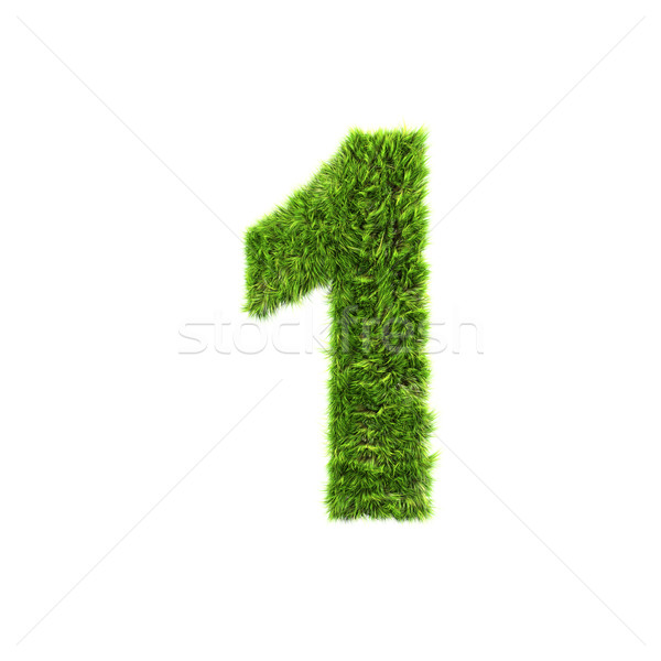 grass digit isolated on a white background - 1 Stock photo © chrisroll