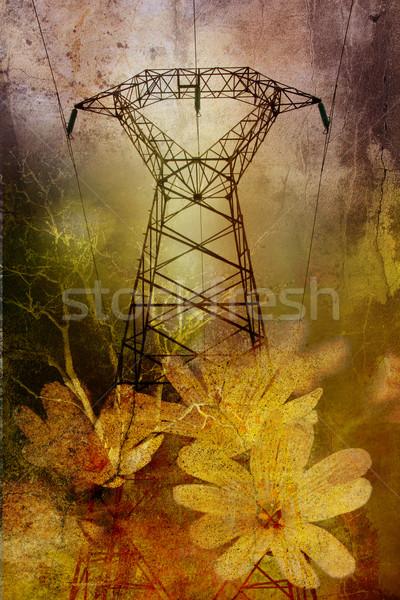 Pylon on grunge background Stock photo © chrisroll