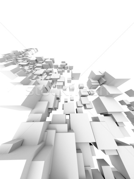 Architectural design 3D blanche bâtiment vitesse Photo stock © chrisroll