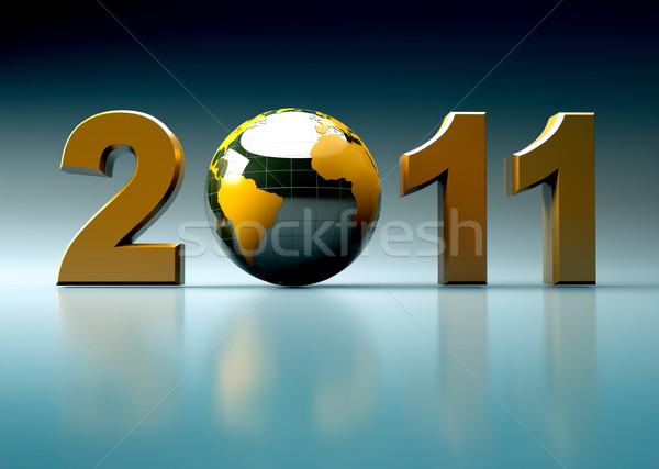 3D capodanno 2011 illustrazione lucido mondo Foto d'archivio © chrisroll