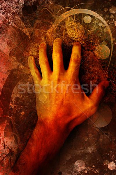Human hand on grunge background Stock photo © chrisroll
