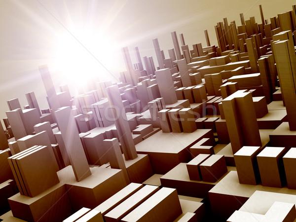 Stockfoto: Bouwkundig · ontwerp · abstract · 3d · illustration · zonsopgang · snelheid