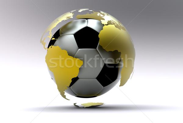 3D футбольным мячом Футбол футбола металл Сток-фото © chrisroll