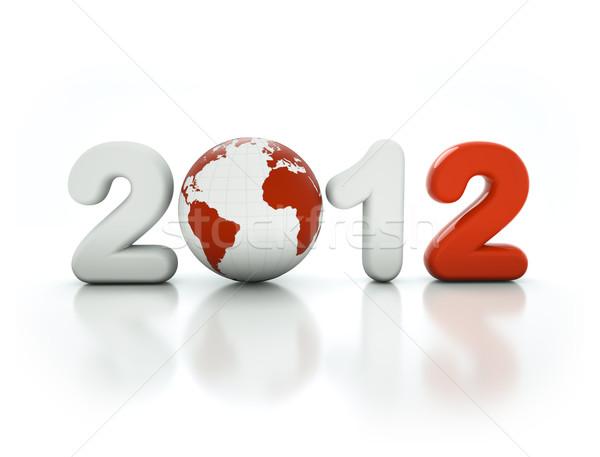 3D año nuevo 2012 forma blanco mundo Foto stock © chrisroll