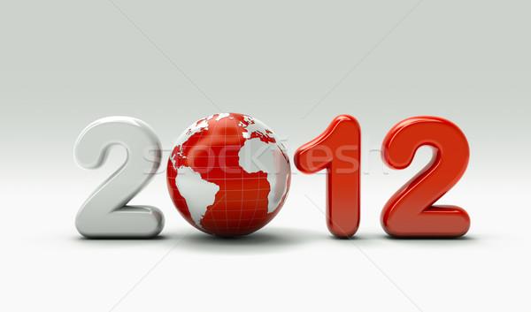 3D nouvelle année 2012 monde fond métal Photo stock © chrisroll