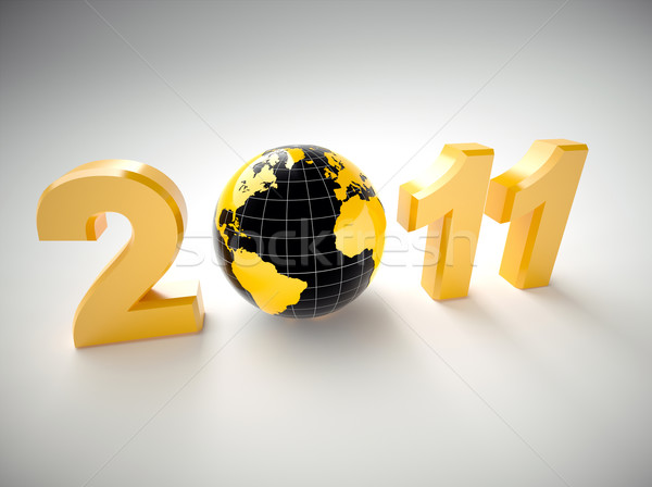 3D nouvelle année 2011 illustration monde heureux Photo stock © chrisroll