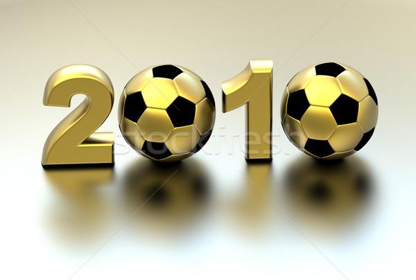 3D gouden voetbal continenten 2010 kampioenschap Stockfoto © chrisroll