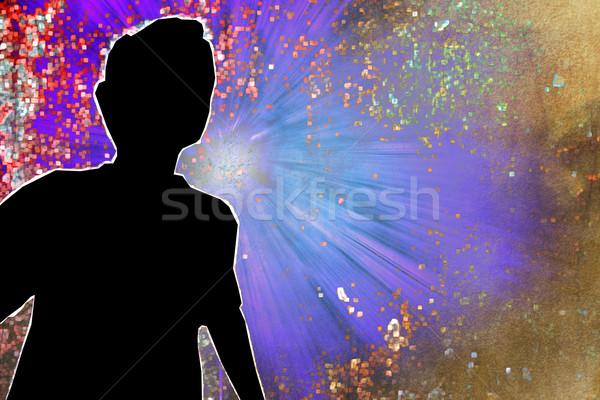 Absztrakt gyermek sziluett fény festék narancs Stock fotó © chrisroll