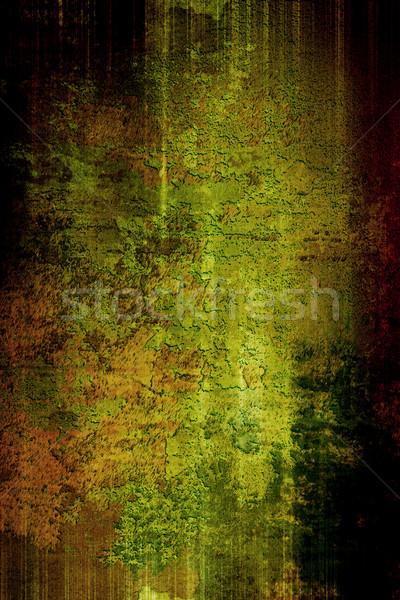 Foto stock: Grunge · edad · pared · textura · mapa · verde