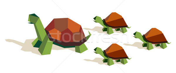 Origami tortoise family Stock photo © cienpies