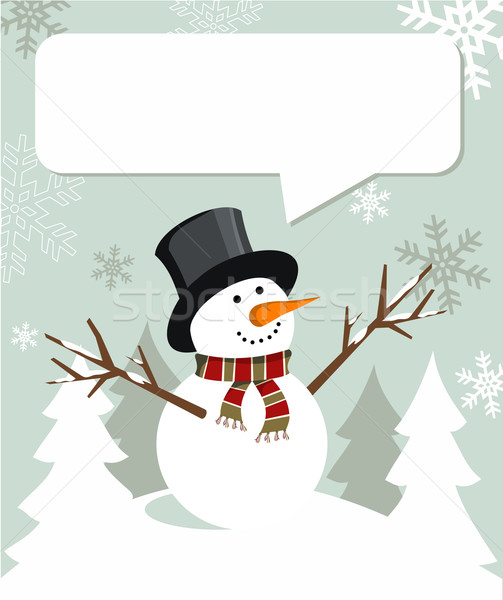Snowman Christmas with dialogue balloon Stock photo © cienpies
