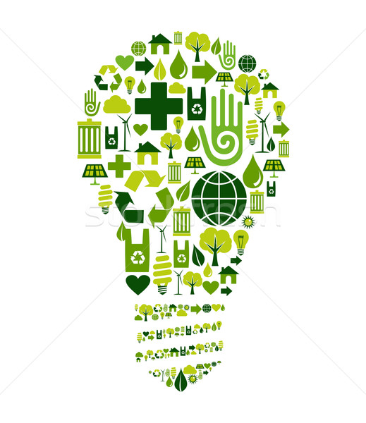 Green bulb with environmental icons Stock photo © cienpies