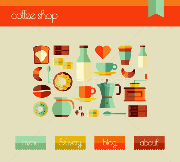 Coffee Shop web design template Stock photo © cienpies