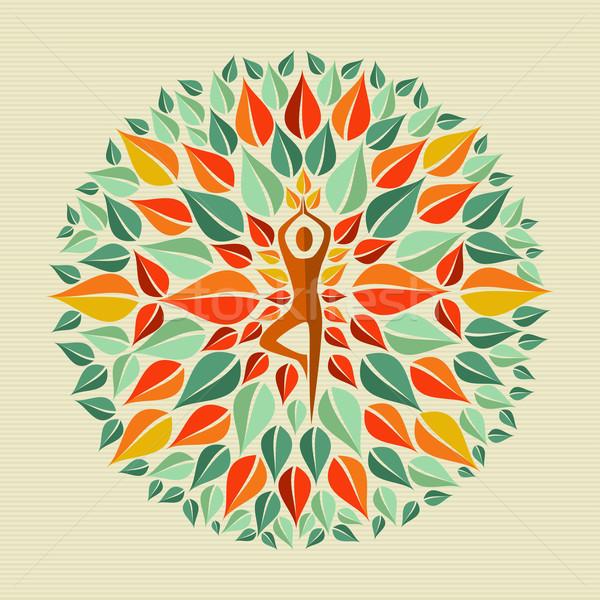 Hindistan yoga mandala yaprakları daire insan Stok fotoğraf © cienpies