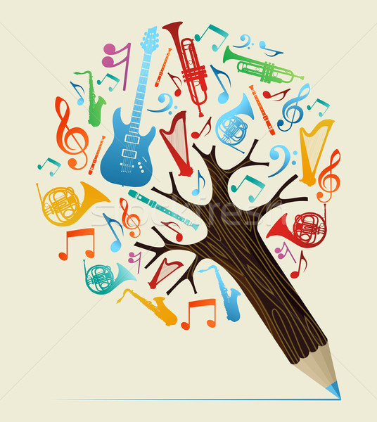 Photo stock: Musical · crayon · arbre · musique · étude · design