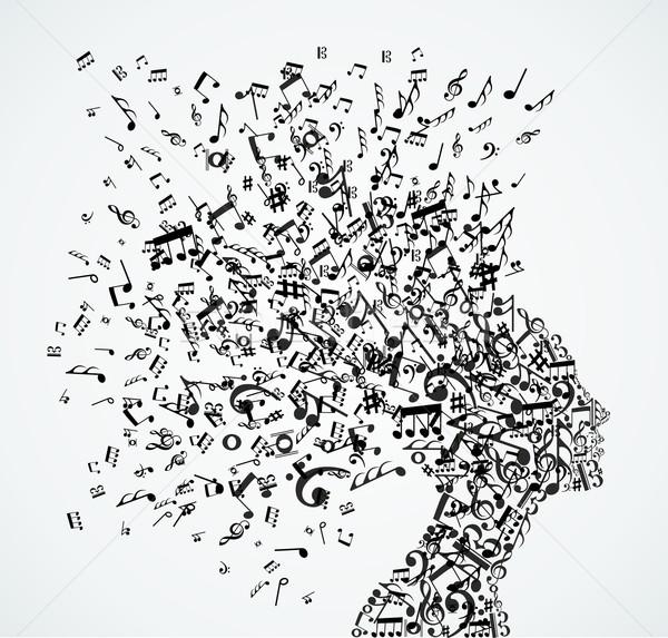 Woman head music notes splash Stock photo © cienpies
