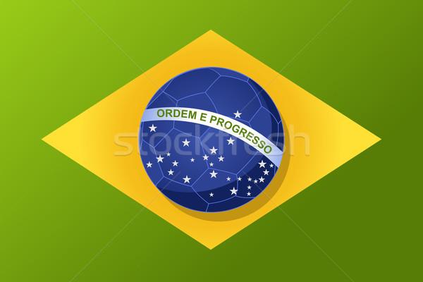 Brazylia banderą piłka piłka wektora Zdjęcia stock © cienpies