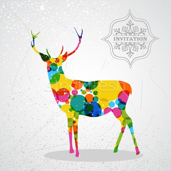 Merry Christmas colorful reindeer shape. Stock photo © cienpies