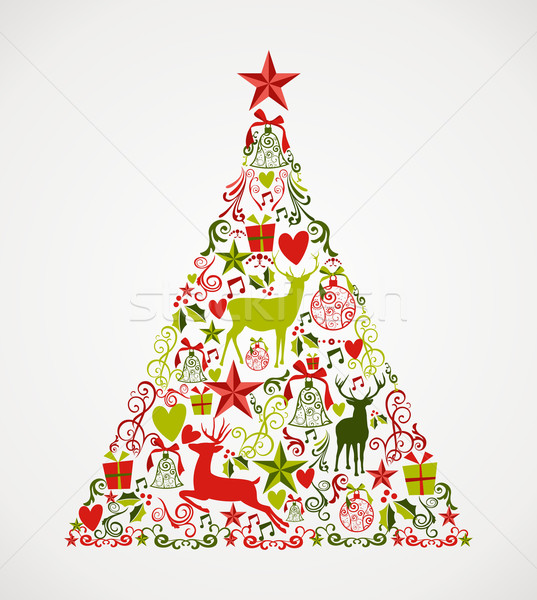Merry Christmas tree shape full of elements composition EPS10 fi Stock photo © cienpies