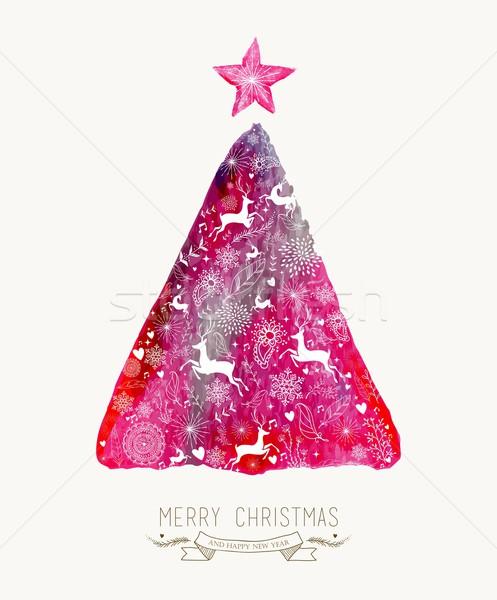веселый Рождества сосна акварель красочный Сток-фото © cienpies