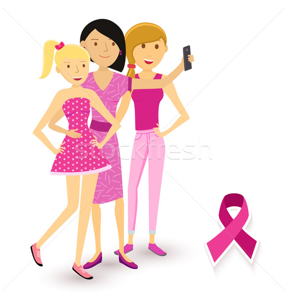 Breast cancer awareness selfie girls social media Stock photo © cienpies