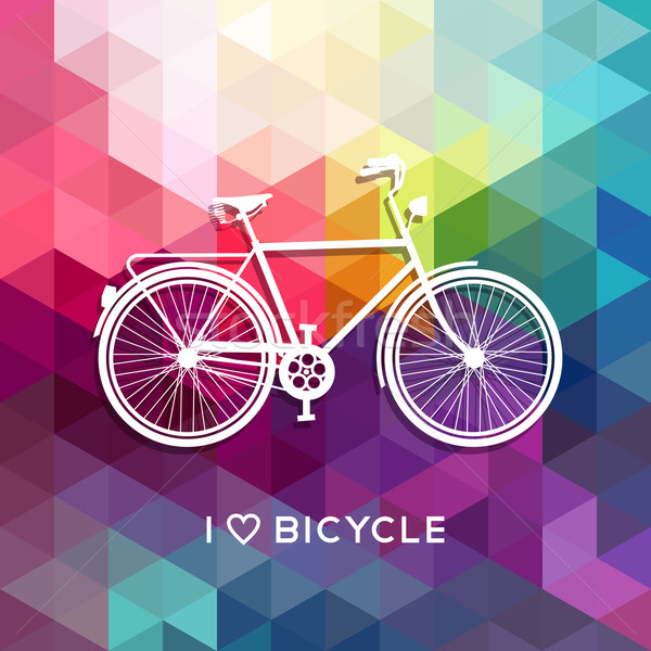 Bike concept poster bicycle love color background Stock photo © cienpies