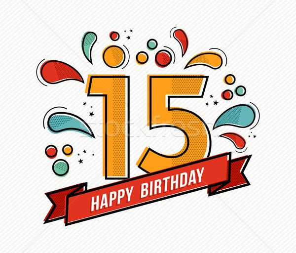Colorido feliz aniversário número 15 linha projeto Foto stock © cienpies