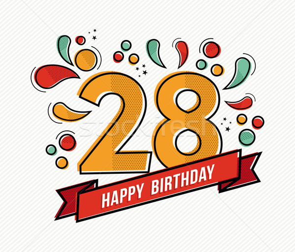 Colorful happy birthday number 28 flat line design Stock photo © cienpies
