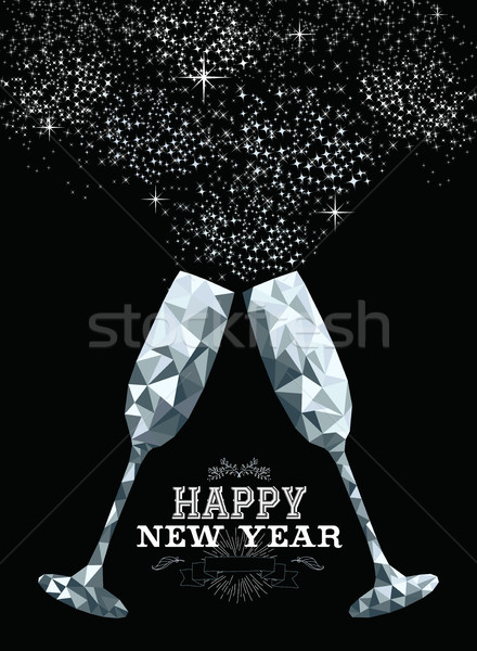 Happy new year toast glass low polygon silver Stock photo © cienpies