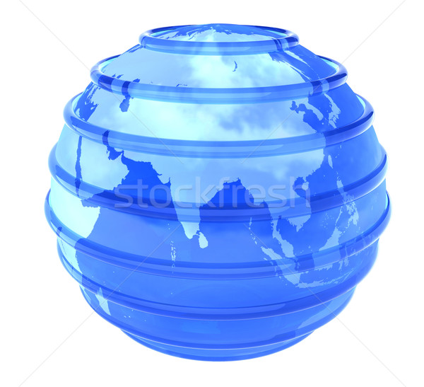 3d glassy Earth Globe focused in Asia Stock photo © cienpies