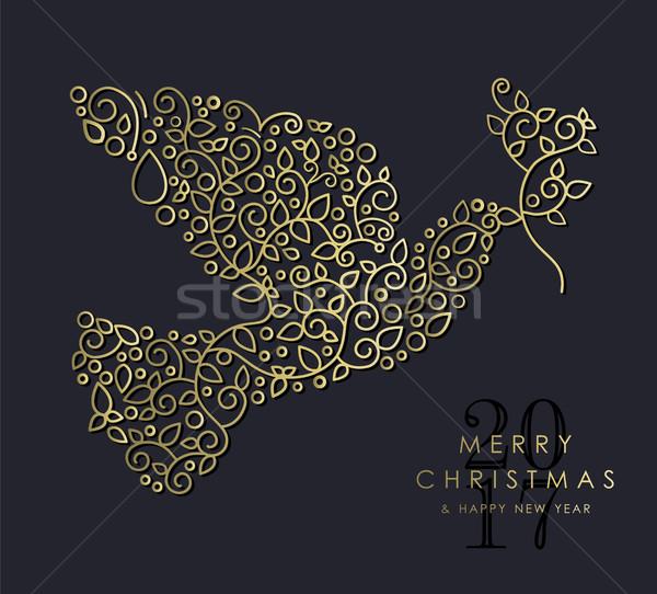 Goud christmas nieuwjaar duif vogel Stockfoto © cienpies