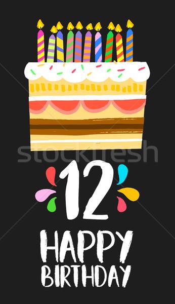 Gelukkige verjaardag cake kaart 12 twaalf jaar Stockfoto © cienpies