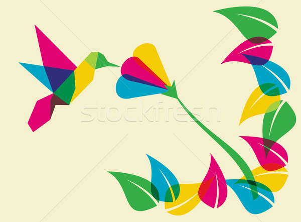 Spring time humming bird and flower Stock photo © cienpies