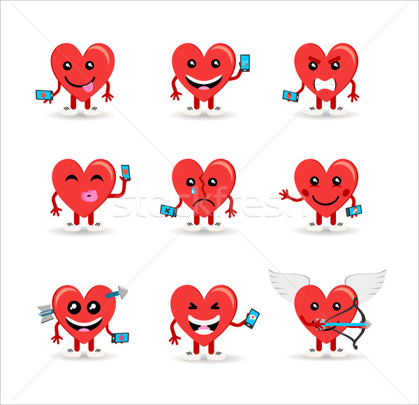 Valentines day social media heart emoji set Stock photo © cienpies