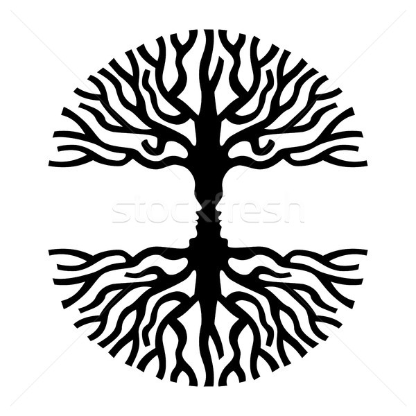 Hommes visages arbre silhouette optique art Photo stock © cienpies