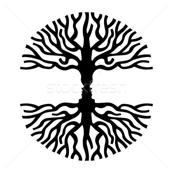 Men faces in tree silhouette optic art symbol Stock photo © cienpies