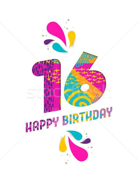Happy birthday 16 year paper cut greeting card Stock photo © cienpies