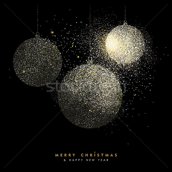 Christmas and new year gold glitter bauble art Stock photo © cienpies