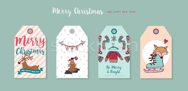 Сток-фото: Рождества · Новый · год · Cute · Cartoon · Label · набор