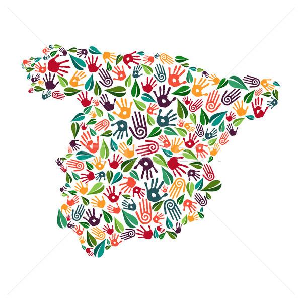 Spanien Hand drucken sozialen Umwelt helfen Stock foto © cienpies