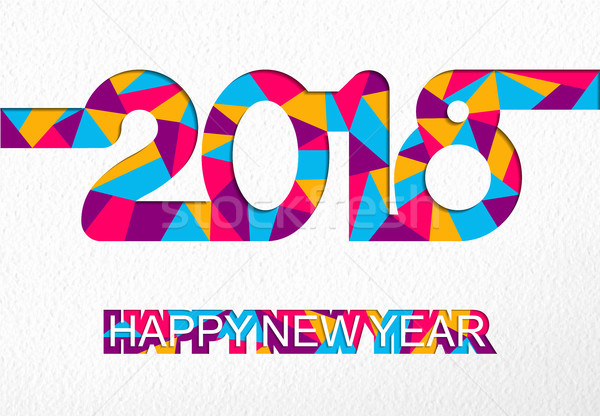 Happy New Year 2018 colorful cutout number card Stock photo © cienpies