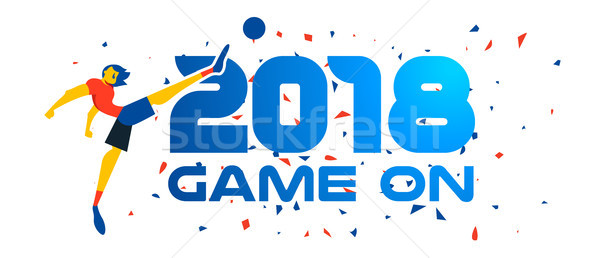 Soccer player web banner for special sport event Stock photo © cienpies