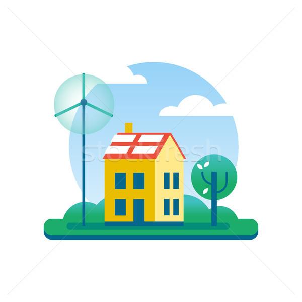 Ecologie huis groene energie windmolen boom milieuvriendelijk Stockfoto © cienpies