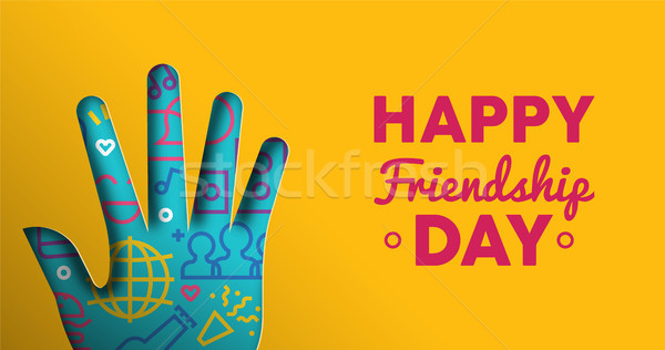 Friendship Day web banner of paper cut hand shape Stock photo © cienpies