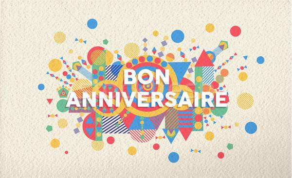 Gelukkige verjaardag wenskaart frans taal illustratie Stockfoto © cienpies
