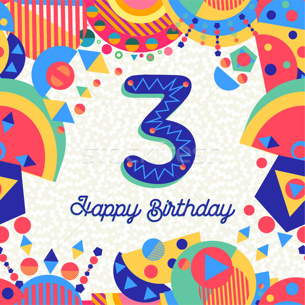 Three 3 year birthday party greeting card number Stock photo © cienpies
