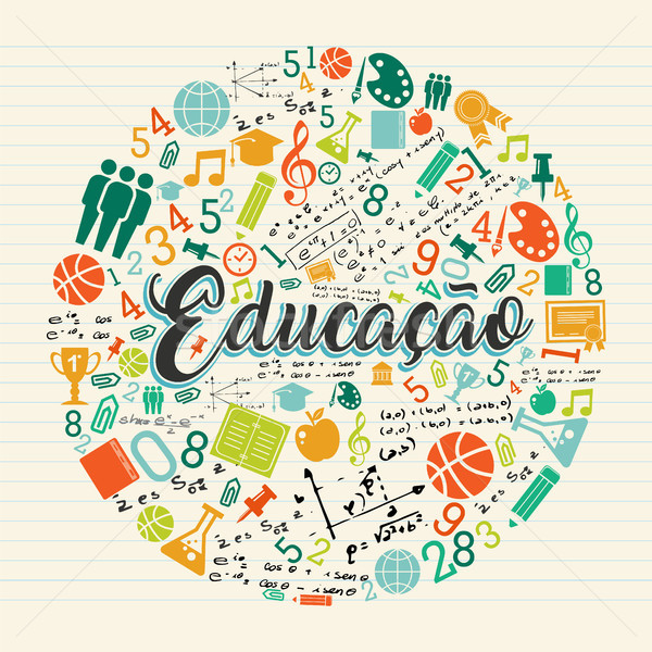 Education school icon quote in portuguese language Stock photo © cienpies