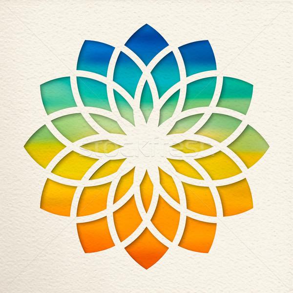 Kroon chakra ontwerp yoga illustratie papier Stockfoto © cienpies