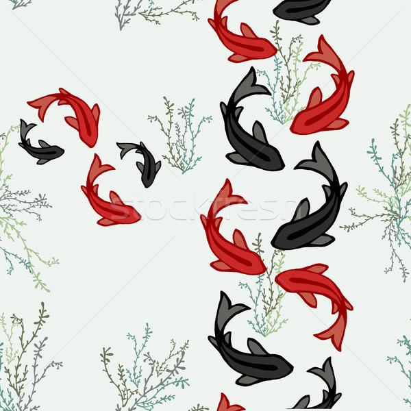 ニシキゴイ 魚 池 アジア 芸術 ストックフォト © cienpies