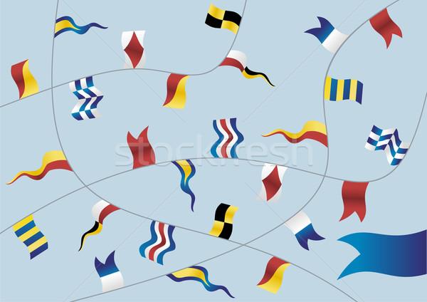Set bandiere navigazione azzurro vettore Foto d'archivio © cienpies